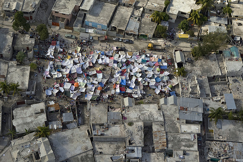 Haitians set up impromtu tent cities thorough the capital after an earthquake measuring 7 plus on the Richter scale rocked Port au Prince Haiti just before 5 pm yesterday, January 12, 2009.