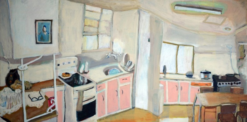 Painting of a kitchen interior with cream walls, blue picture, pink cupboard doors.