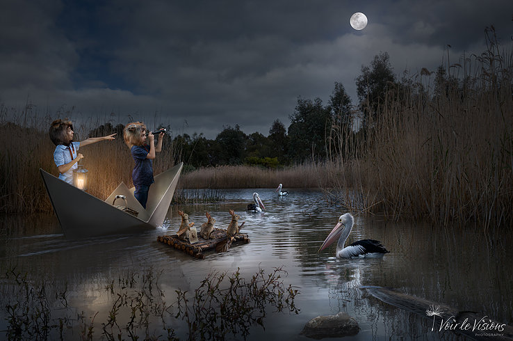 Two kids in a paper boat on a lake at nighttime look towards the shore. There are rabbits and pelicans around them.